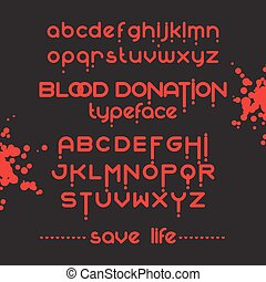 Round Blood Font set - Round blood font set Blood donation...