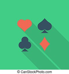 Card suit icon. Flat vector related icon with long shadow...