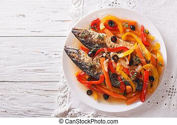 Escabeche fish: mackerel in vegetable marinade horizontal...