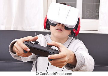 child with virtual reality game