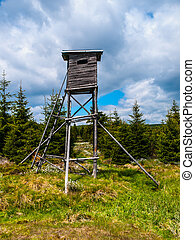 Wooden high seat for hunters - Wooden high seat tower for...