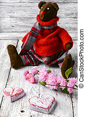 Soft toy bear - Symbolic soft toy bear and a wooden heart