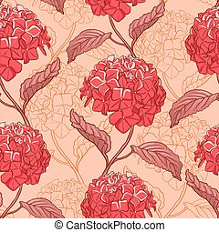 Seamless pattern with hydrangea - Seamless vintage floral...