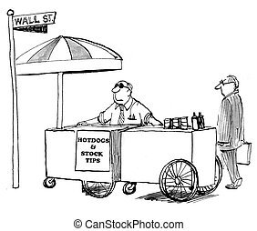 Stock Tips - Business cartoon about stock tips