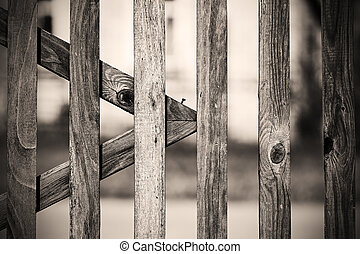monochrome vintage old wooden fence in the village