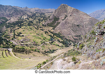 Inca agricultural terraces in Pisaq village, Peru - Inca...
