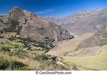 Inca agricultural terraces in Pisaq, Peru - Inca...