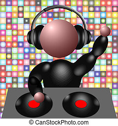 DJ - 3D Illustration of a DJ spinning discs in front of a...