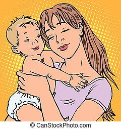 young mother baby vector retro pop art. The children and...