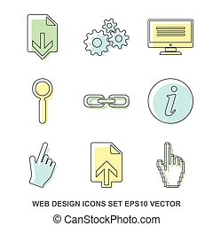 Set of web design Colored icons. EPS 10, vector illustration.