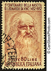 Leonardo stamp - Leonardo da Vinci image in a cancelled...