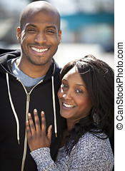 Portrait Of A Black Couple Smiling - Vertical, Front or Back...