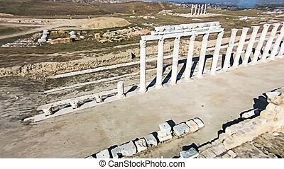 Aerial shot over the ancient columns of agora, Laodicea, Turkey.