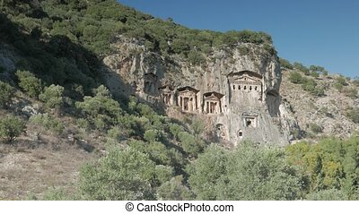 View of the facades of the rock tombs built in the ancient...