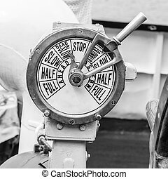 engine room telegraph, old steamship - B-W image of a engine...