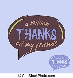 Thanks handwritten vector illustration, lettering isolated...