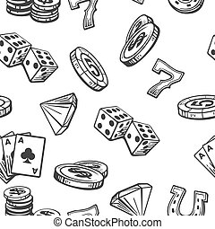 Seamless Pattern Casino set symbols. Black and white vintage...