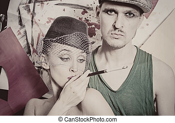 young men and women in retro style