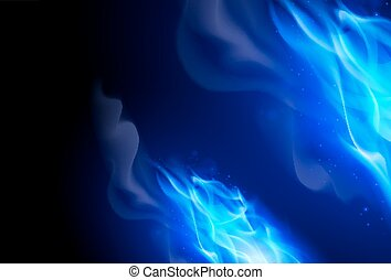 Fire Flames Effect - Realistic Blue Fire Flames Effect on...