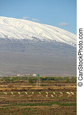 Turkish-Armenian border in front of Ararat mountain