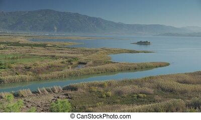 Summer landscape of the rivers valley with blue sky Dalyan,...