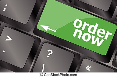Order now computer key showing online purchases and shopping. Keyboard keys icon button vector