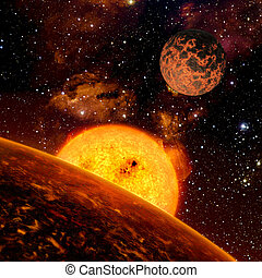 Alien Exo Planet. Elements of this image furnished by NASA -...