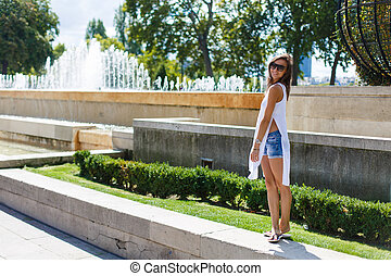 Girl walking in Paris