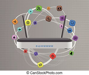 modem multimedia - illustration of modem router wireless