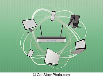 modem network - illustration of modem router wireless with...