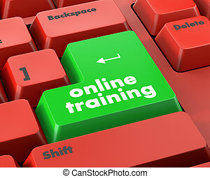 On line training sign on the keyboard