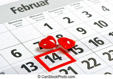 Calendar 14 February Red hearts Valentines day