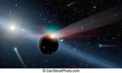 Attack of the asteroid on the planet Earth in the universe 3d rendering.