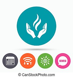 Energy hands sign icon Power from hands symbol - Wifi, Sms...