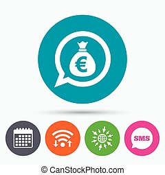 Money bag sign icon. Euro EUR currency. - Wifi, Sms and...