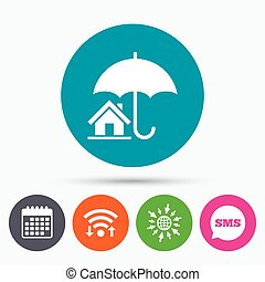 Home insurance sign icon. Real estate insurance. - Wifi, Sms...