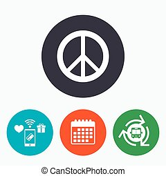 Peace sign icon Hope symbol Antiwar sign Mobile payments,...