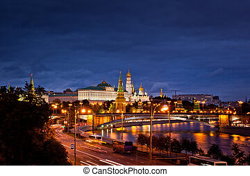 Moscow Kremlin view - Moscow Kremlin panorama night view