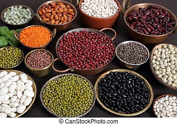 Lentils, peas and beans. - Beans, peas and lentils in metal...