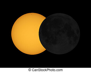 Sun eclipse simulation - The sun eclipsed by the moon...