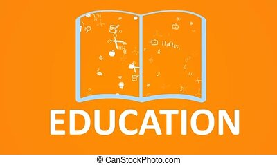 Open books and icons of science and education The concept of...