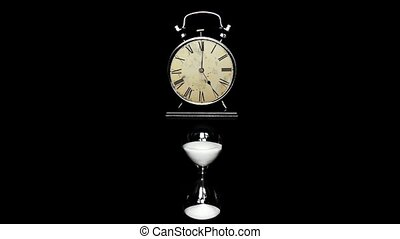 Alarm Clock, hourglass. The concept of time, different...
