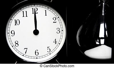 Alarm Clock, hourglass The concept of time, different times