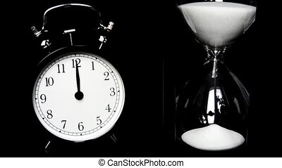 Alarm Clock, hourglass. The concept of time, different times