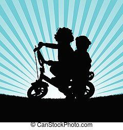 children on bike illustration silhouette in nature