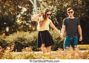 Youthful couple spending time together - Love romance...