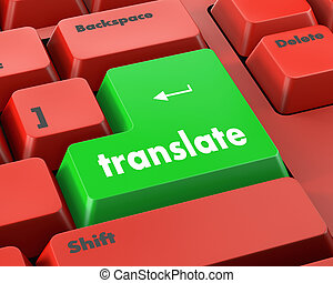 Translate Computer Key In Blue Showing Online Translator