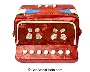 A small red childrens accordion isolated on white background...