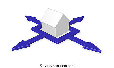 distributor - house and arrows in four directions - 3d...