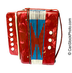 A small red children\'s accordion isolated on white...